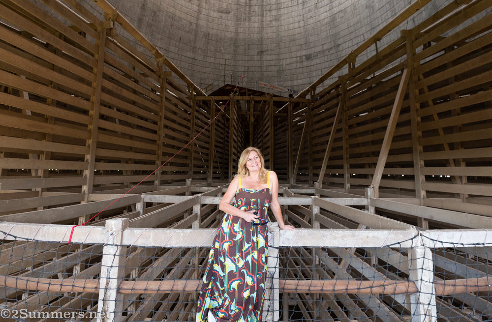 Gilda Swanepoel inside one of the Soweto cooling towers.