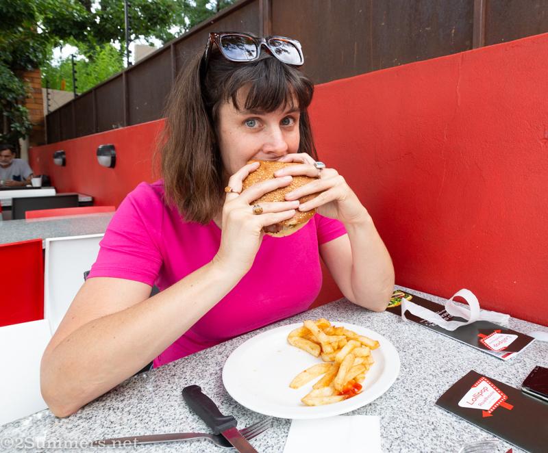 Heather eating burger