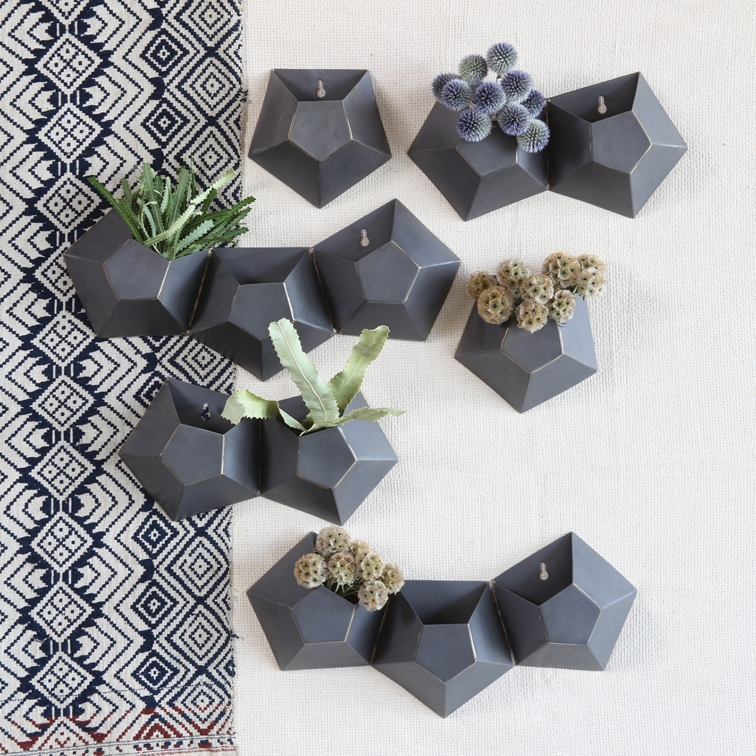 Triple Hexagonal Iron Wall Vase by HomArt - Seven Colonial on Iron Wall Vases id=82591