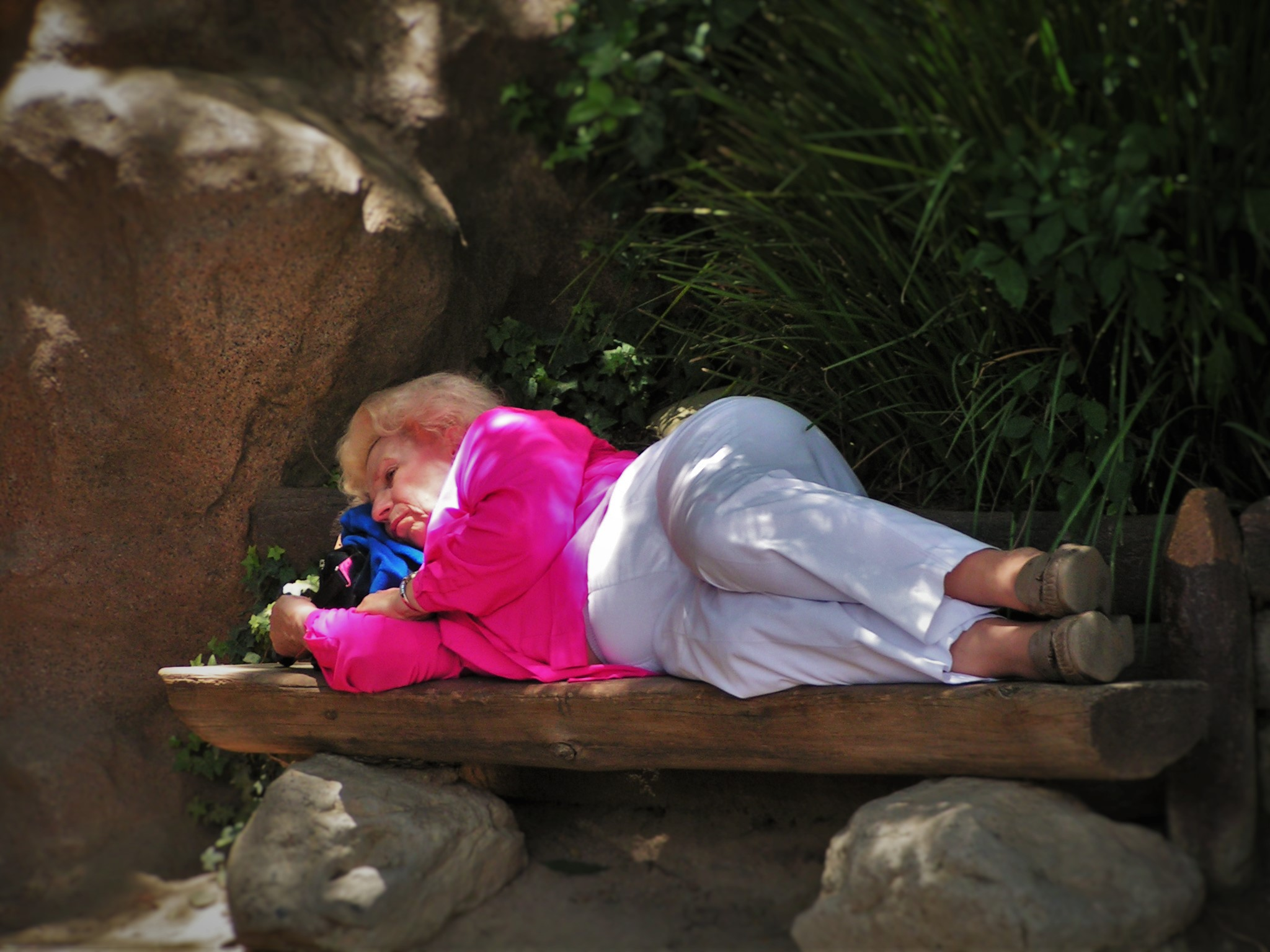 Old Lady sleeping in Disneyland 1