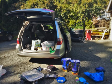 Packing Van for a family travel road trip