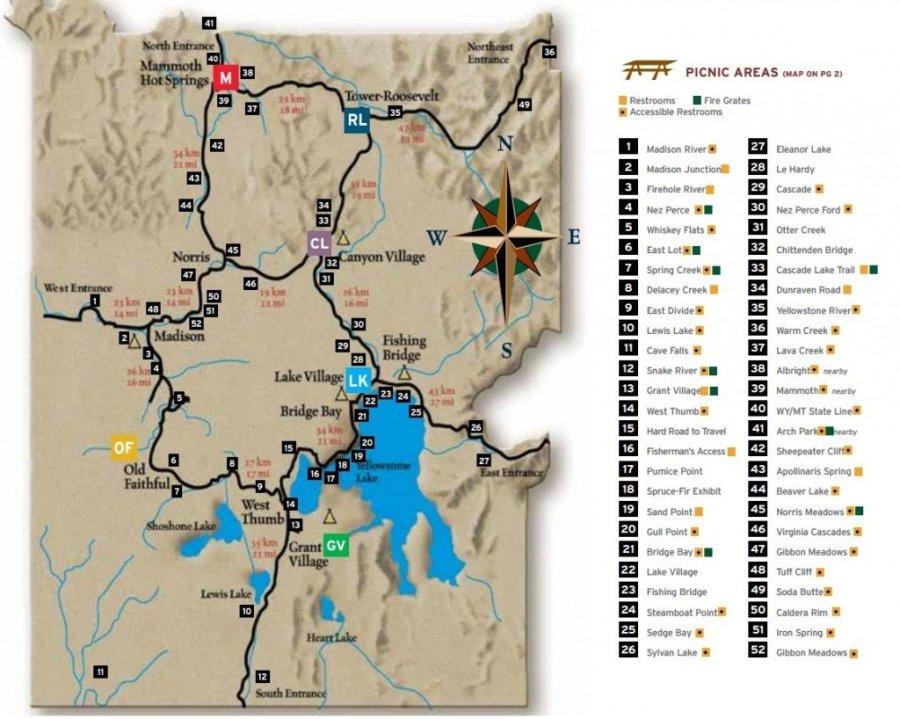 Yellowstone Picnic Map