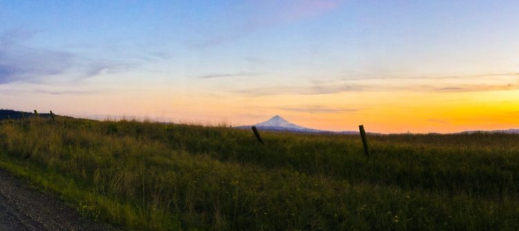 Mt Hood at Sunset from High Prairie Washington