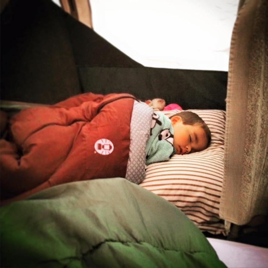 LittleMan in Sleeping Bag Camping Yellowstone 1