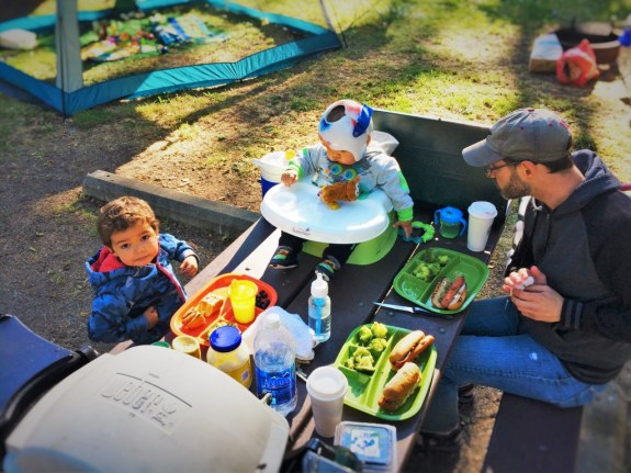 Chris Taylor and Dudes picnic table camping Salt Creek 1