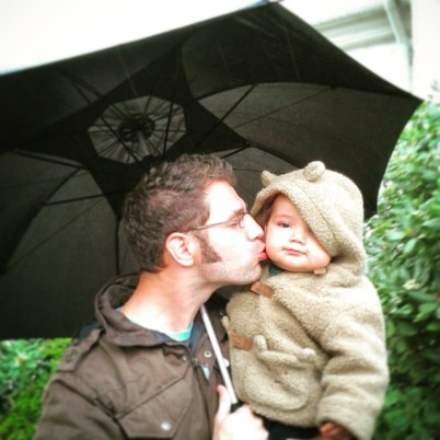 Chris Taylor and LittleMan under Umbrella San Francisco