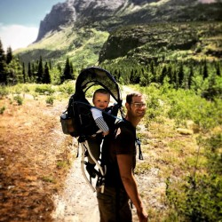 Chris Taylor and TinyMan hiking Glacier National Park 1