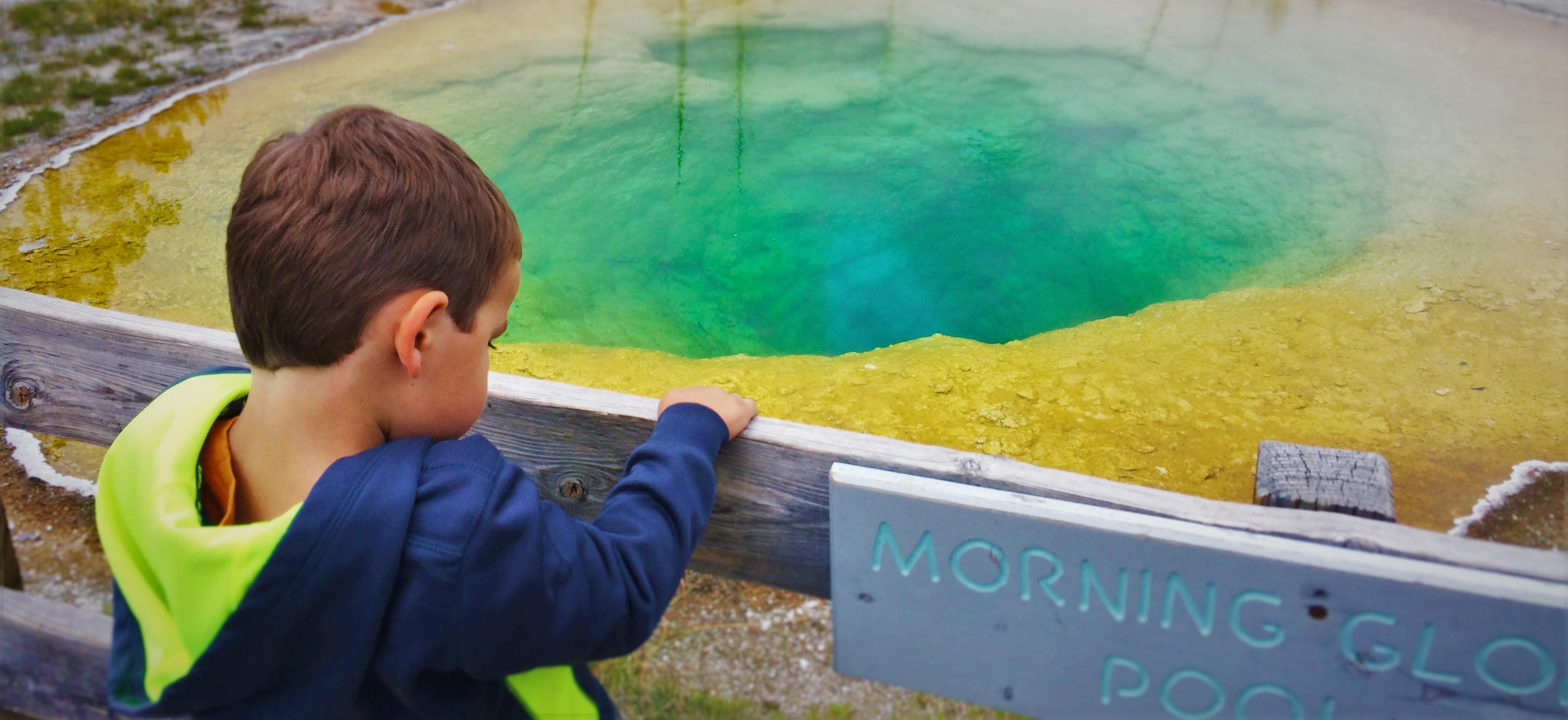 LittleMan with Morning Glory Pool Old Faithful Yellowstone 3 header