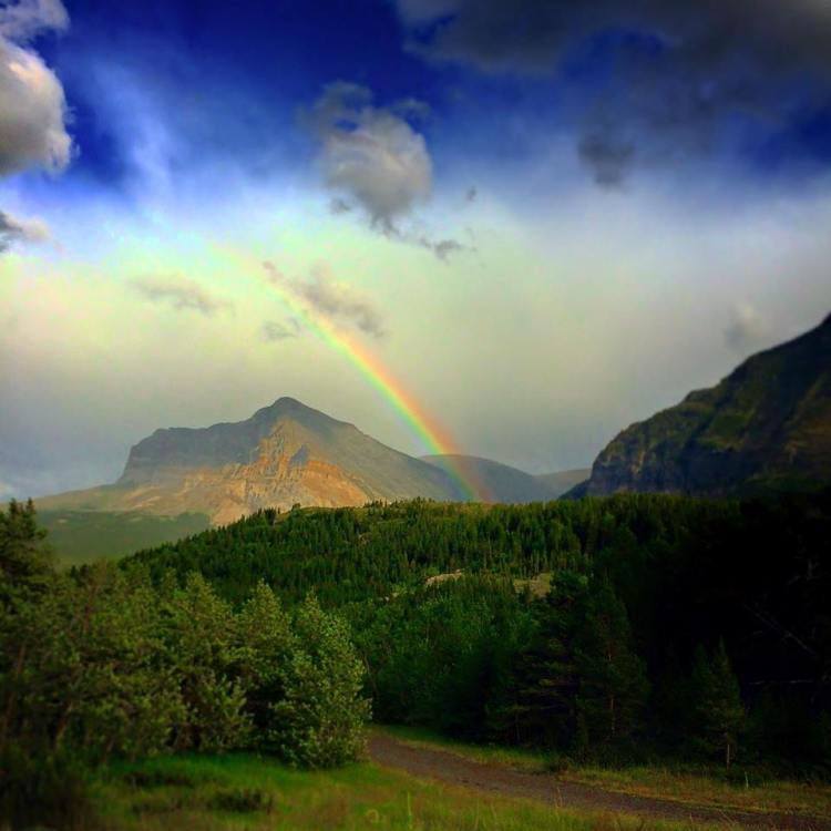 Rainbow at Many Glacier entrance Glacier National Park