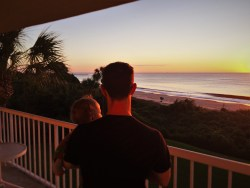 Chris Taylor and TinyMan at Sunrise at King and Prince Resort St Simons GA 1