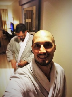 Chris and Rob Taylor in Robes at Hyatt Olive 8 Seattle