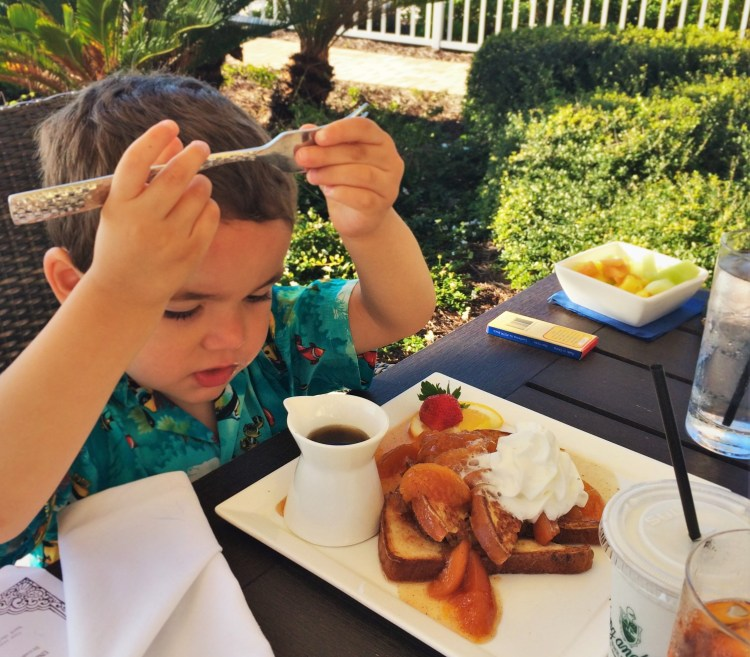 LittleMan with Peach French Toast at Echo Restaurant at King and Prince Resort St Simons GA 1