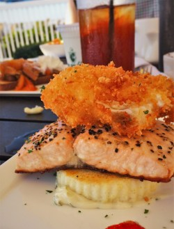 Poached Salmon with Crispy Egg and Grits at Echo Restaurant King and Prince Resort St Simons GA