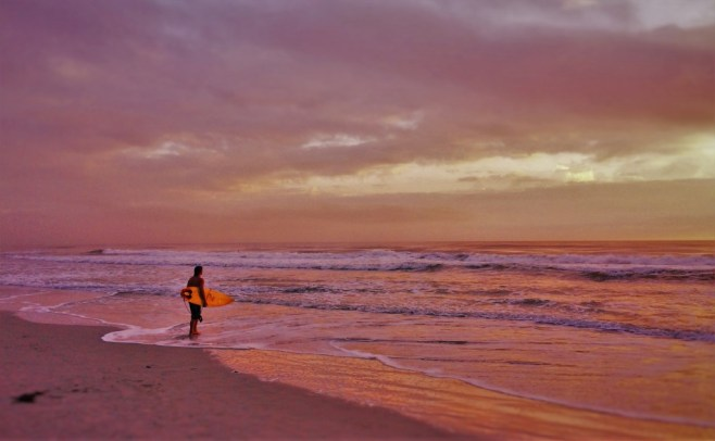 Surfer at Sunrise at Casa Marina Jax Beach 1