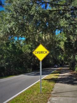 Church Warning Sign St Simons Island Georgia