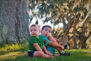 Dudes with Spanish Moss at Fort Frederica Natl Monument St Simons GA 2traveldads.com