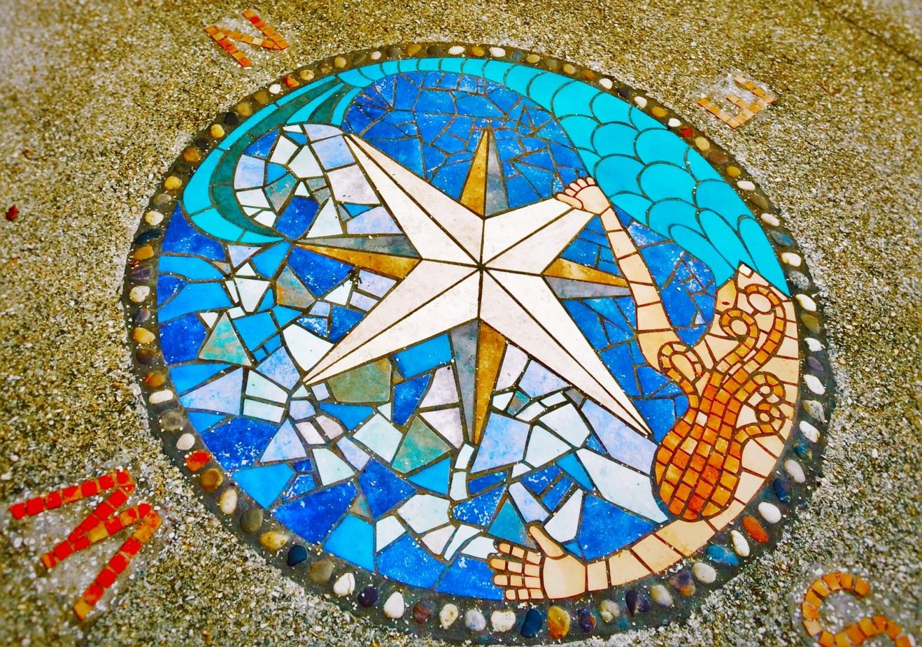 Mosaic Compass With Octopus At Pirate Museum St Augustine FL - Pirate museums in the us