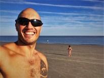 Rob Taylor and Little Man on Beach at King and Prince Resort St Simons GA 1