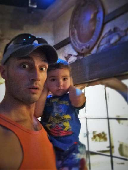 Rob Taylor with LittleMan in Pirate Museum St Augustine FL 1