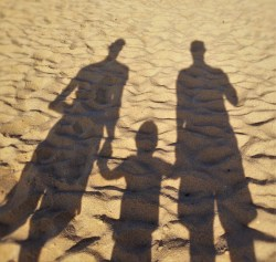Sunset at the beach is always amazing, especially when it's with your best guys. Here are the Taylor men's shadows on a beach, somewhere in Mexico...