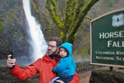 Chris Taylor and TinyMan at Horstail Falls Waterfall Area Oregon 2