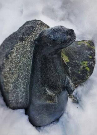 Granite Otter sculpture at Sleeping Lady Resort Leavenworth 2traveldads.com