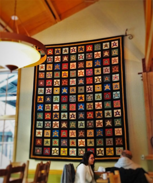 Patchwork Quilt in Kingfisher Dining Room at Sleeping Lady Resort Leavenworth WA 1