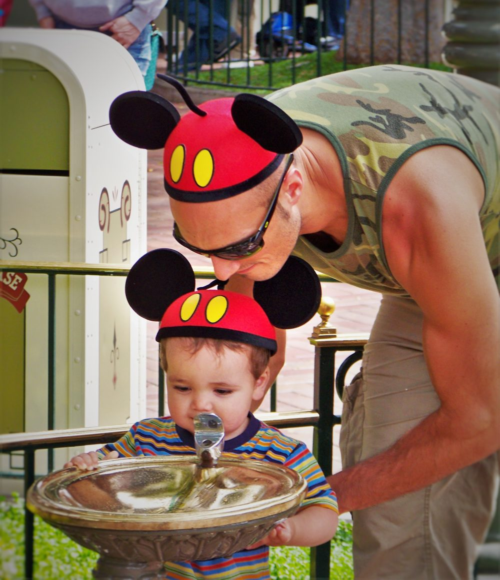 Rob Taylor and LittleMan Drinking Fountain Disneyland