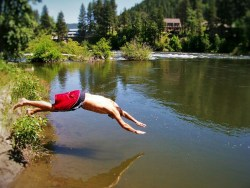 Rob Taylor swimming in Leavenworth Washington