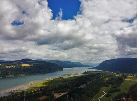 View to the East from Vista House at Crown Point Waterfall Area Columbia Gorege Oregon 1