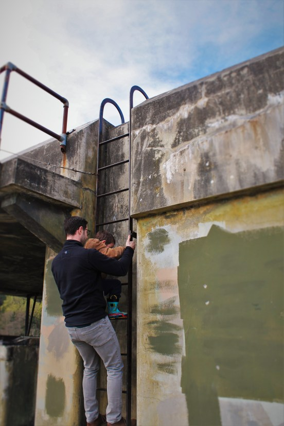Chris Taylor and LittleMan climbing ladder at Fort Worden Port Townsend 2