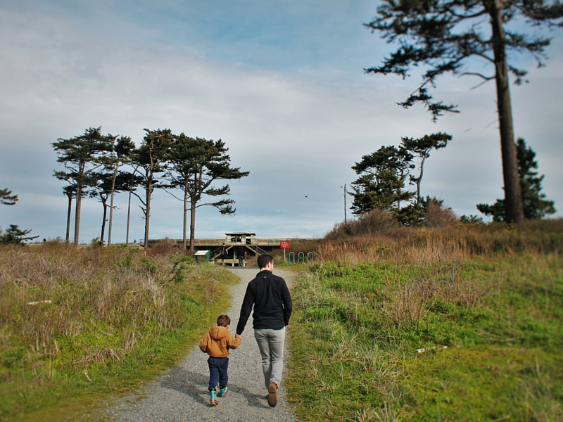 Chris Taylor and LittleMan heading into bunkers at Fort Worden Port Townsend