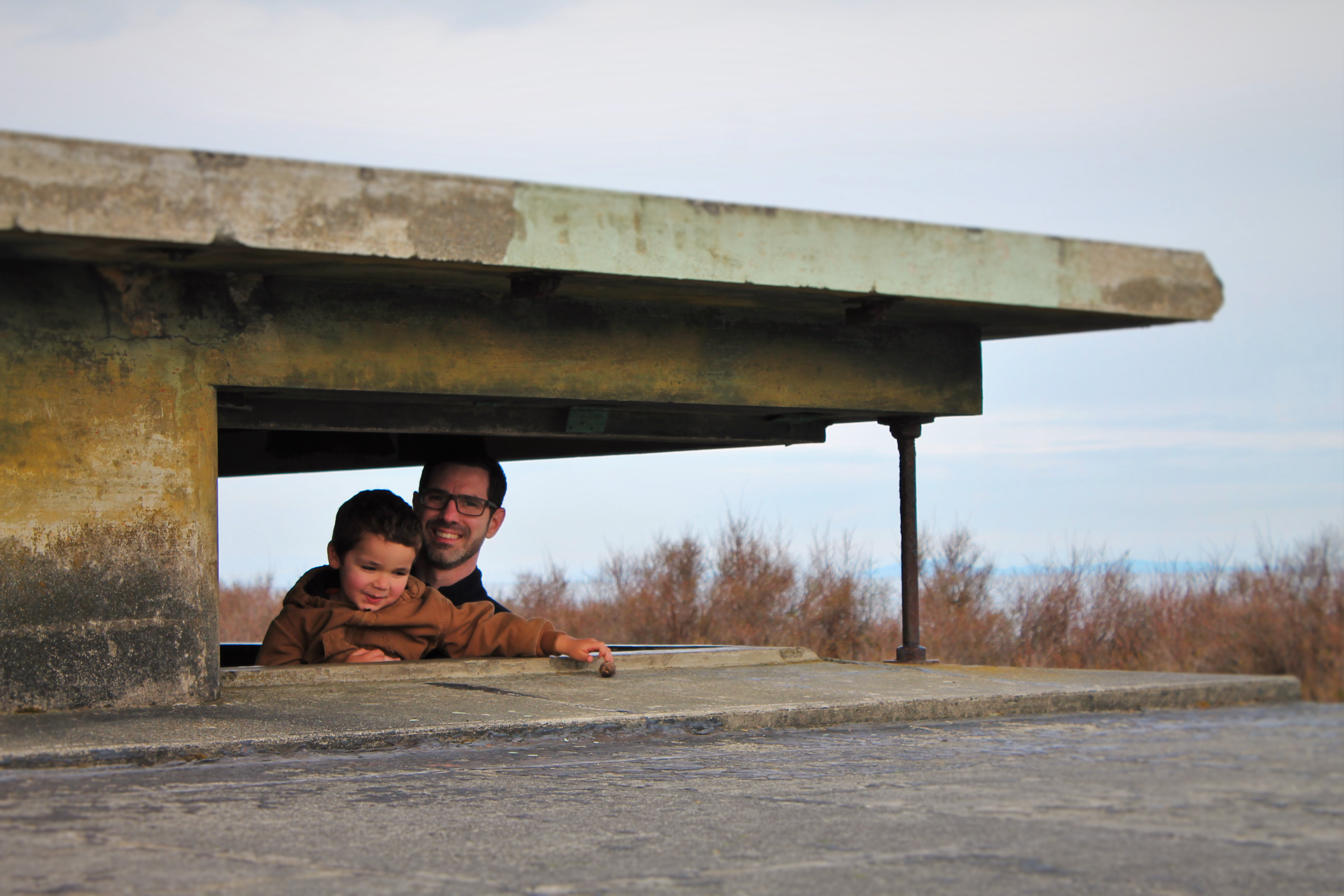 Chris Taylor and LittleMan in bunker at Fort Worden Port Townsend 3