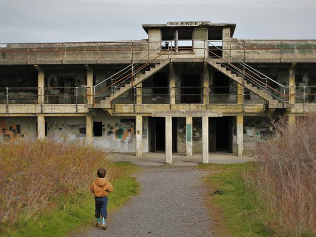 LittleMan approaching bunkers at Fort Worden Port Townsend