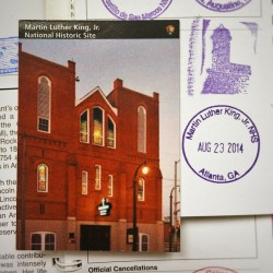 MLK National HIstoric Site Trading Card and Passport Cancellations 2traveldads.com