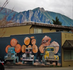 Mt Si with Logging Trucks Mural in Downtown Snoqualmie Washington 1