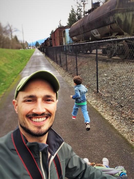 Rob Taylor and LittleMan at Railroad Graveyard in Snoqualmie Washington 1