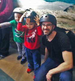 Chris Taylor and LittleMan with Helmets for climbing Altitude at Childrens Museum of Denver 2