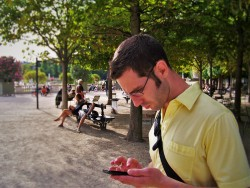 Chris Taylor on cell phone in Jardin du Luxembourg 1