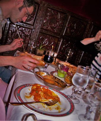 Chris and Rob Taylor eating Indian Food in Montmartre Paris 2