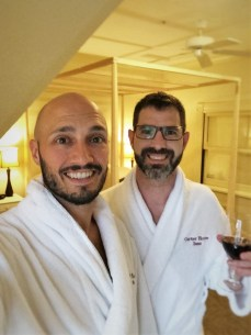 Chris and Rob Taylor in bathrobes at Carter House Inn Eureka 1