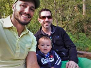 Chris and Rob Taylor with TinyMan by still pond at Bloedel Reserve Bainbridge Island 1
