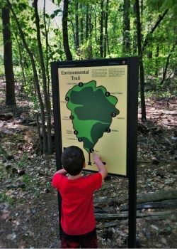 LittleMan at Kennesaw Mountain National Battlefield with hiking map 2traveldads.com