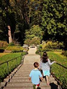 LittleMan on long staircase at Bloedel Reserve Bainbridge Island 1