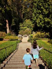 LittleMan on long staircase at Bloedel Reserve Bainbridge Island 1