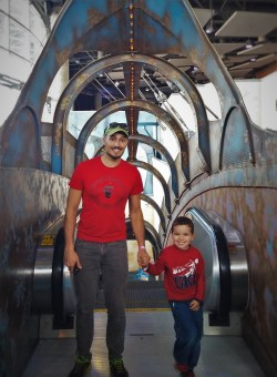 Rob Taylor and LittleMan on 20000 Leagues Under the Sea Escalator at Denver Downtown Aquarium 1