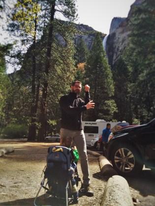 Chris Taylor and hiking pack at Bridal Veil Falls in Yosemite National Park 1