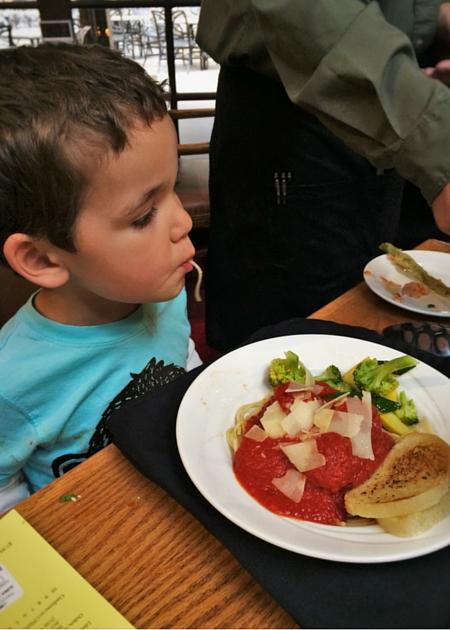 LittleMan and Pasta in Sierra Restaurant of the Tenaya Lodge Yosemite 2traveldads.com