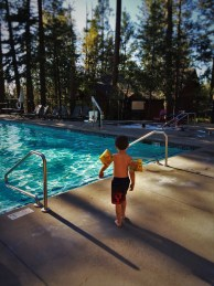 LittleMan at swimming pool at Evergreen Lodge at Yosemite National Park 1