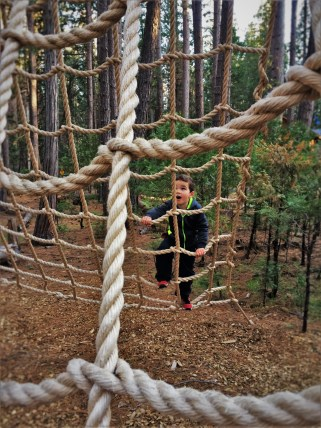 LittleMan doing ropes course at Evergreen Lodge at Yosemite National Park 1
